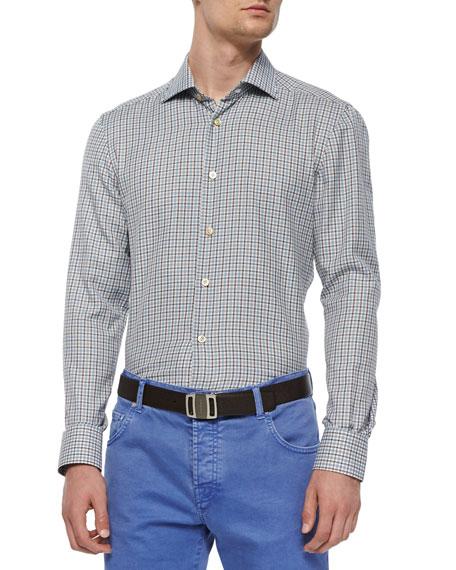 Kiton Check Long-Sleeve Woven Shirt, Brown/Blue