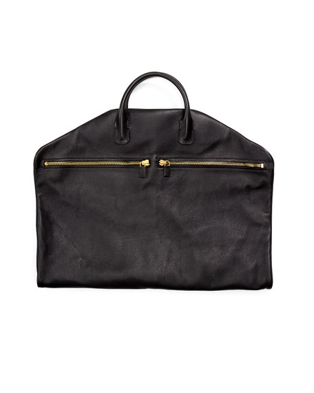 TOM FORD Buckley Soft Leather Garment Bag, Black