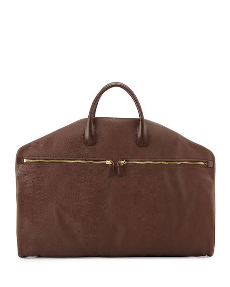 TOM FORD Soft Buckley Leather Garment Bag, Chocolate