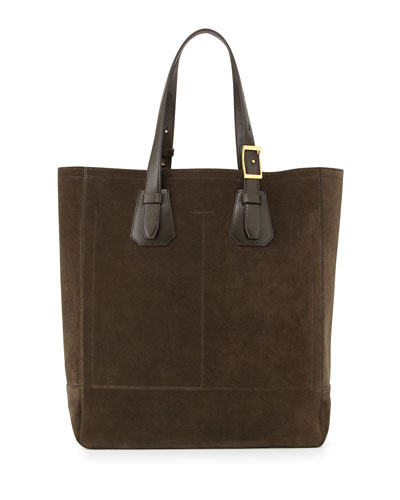 Men's Suede Tote Bag, Olive