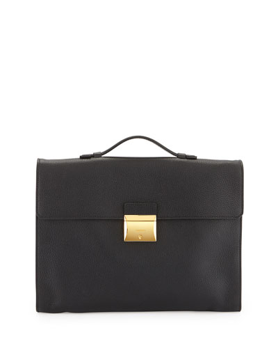 Leather Briefcase with Gold Buckle, Black