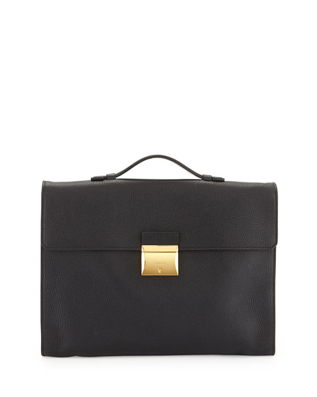 TOM FORD Leather Briefcase with Gold Buckle, Black