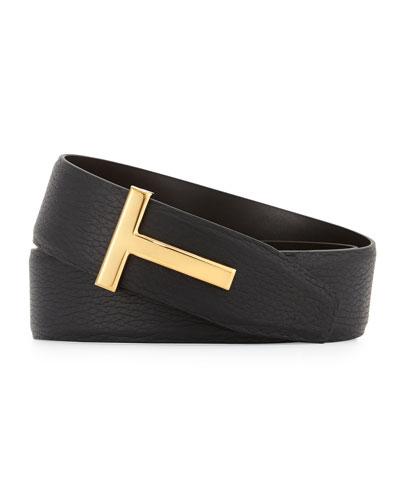Reversible Leather Logo Belt, Black/Brown