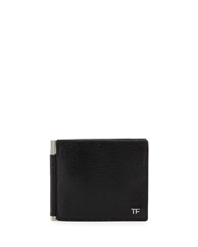 Leather Bifold Wallet with Money Clip, Black