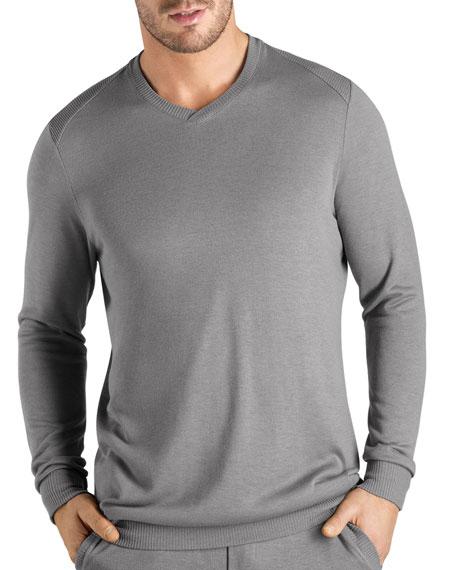 Hanro Theophile Long-Sleeve Knit Shirt, Gray