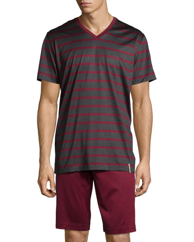 Leonard Striped Short Pajama Set, Burgundy