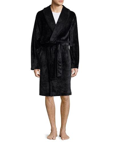 Shiny Wrap Short Robe, Black