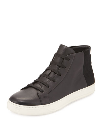 Atlas High-Top Sneaker with Calf Hair Detail, Black