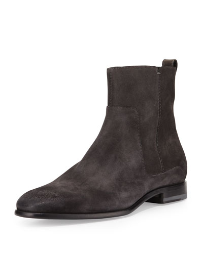 Carbon Suede Chelsea Boot, Black