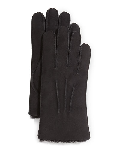 Gauge Point Shearling Gloves, Black