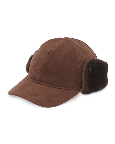 Suede Cap w/Shearling Ear Flaps, Chocolate