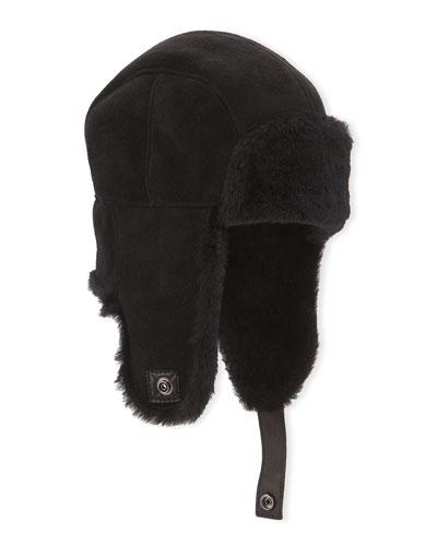 Sheepskin Shearling Trapper Hat, Black