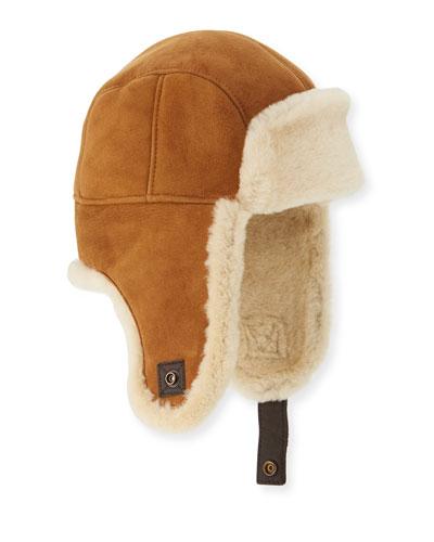 Shearling Fur Trapper Hat, Chestnut