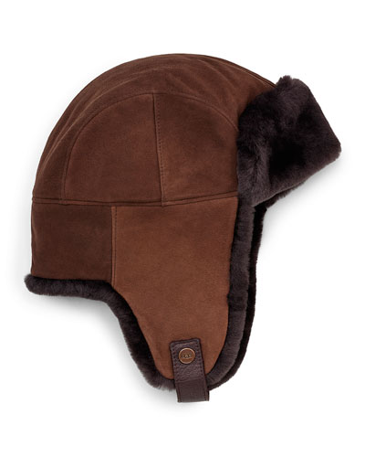 Shearling Fur Trapper Hat, Chocolate