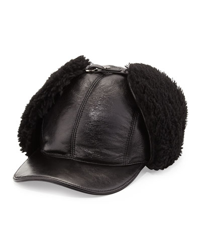 Wool Trapper Baseball Cap, Black