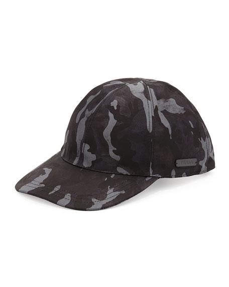 Prada Nylon Camouflage Baseball Cap, Blue