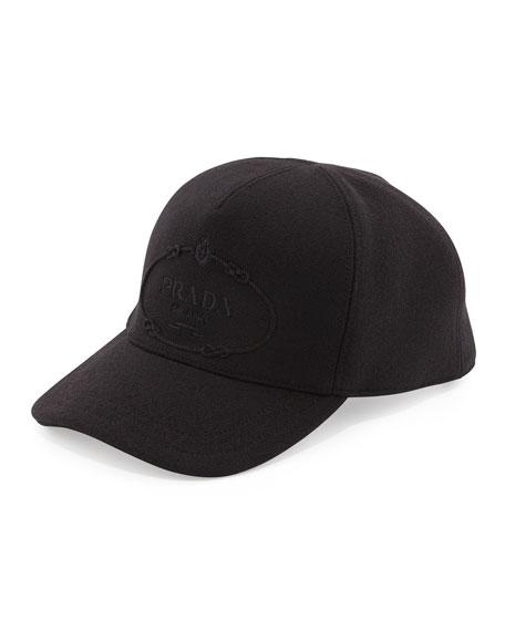 Prada Wool Logo Baseball Cap, Black