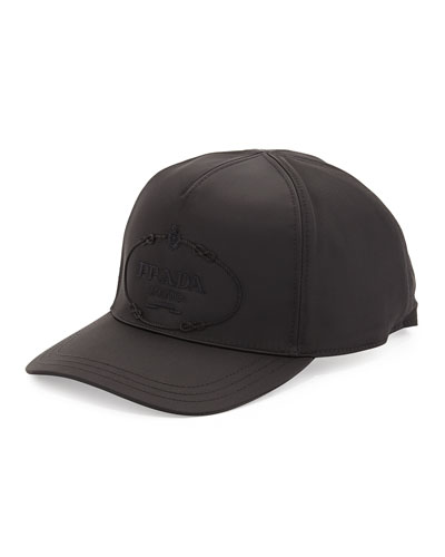 Nylon Logo Baseball Cap, Black
