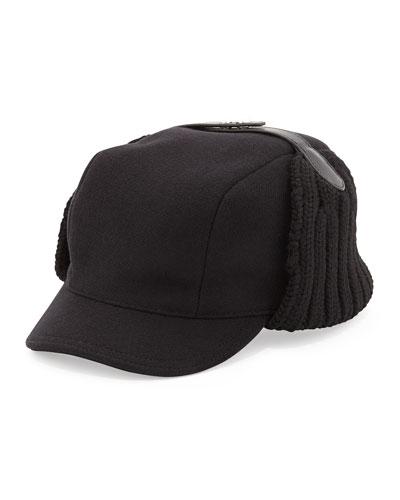 Wool Knit Trapper Hat, Black