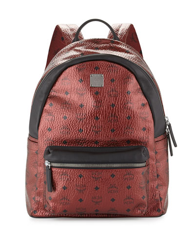 Stark Coated Canvas Backpack, Metallic Red