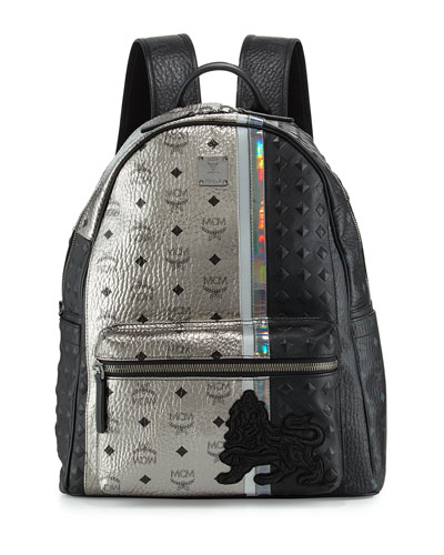 Munich Lion Logo Canvas Backpack, Silver