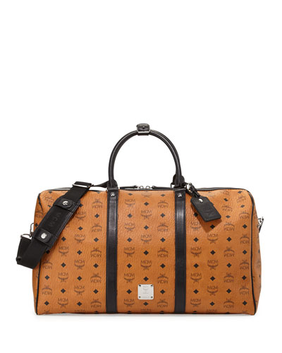 Monogrammed Canvas Weekender Bag, Cognac