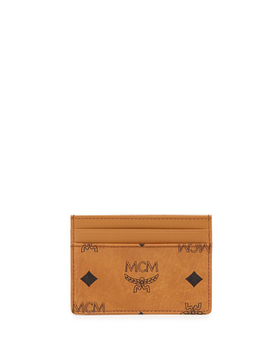 Monogrammed Canvas Card Case, Cognac