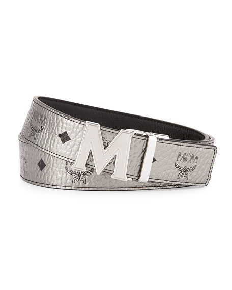 MCMReversible M-Buckle Monogram Belt, Silver/Black