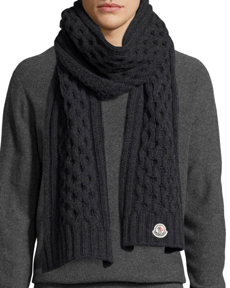 Knitting Patterns For Men Scarf : Moncler Mens Cable-Knit Cashmere Scarf, Gray