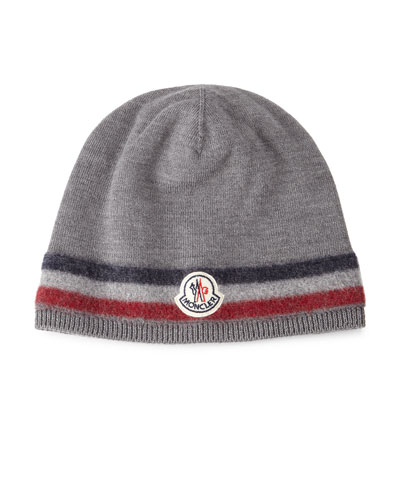Logo-Striped Cashmere Beanie Hat, Gray
