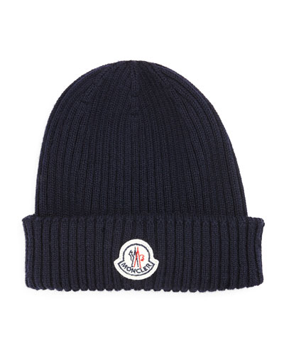 Cashmere Ribbed-Knit Hat, Navy