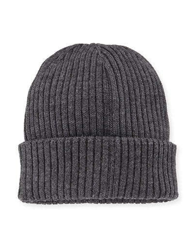Ribbed Cashmere Beanie Hat, Gray