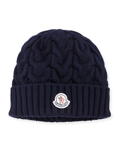 Cashmere Cable-Knit Beanie Hat, Navy