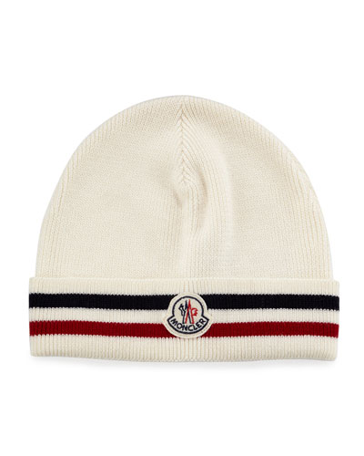 Striped Logo Cashmere Beanie Hat, White