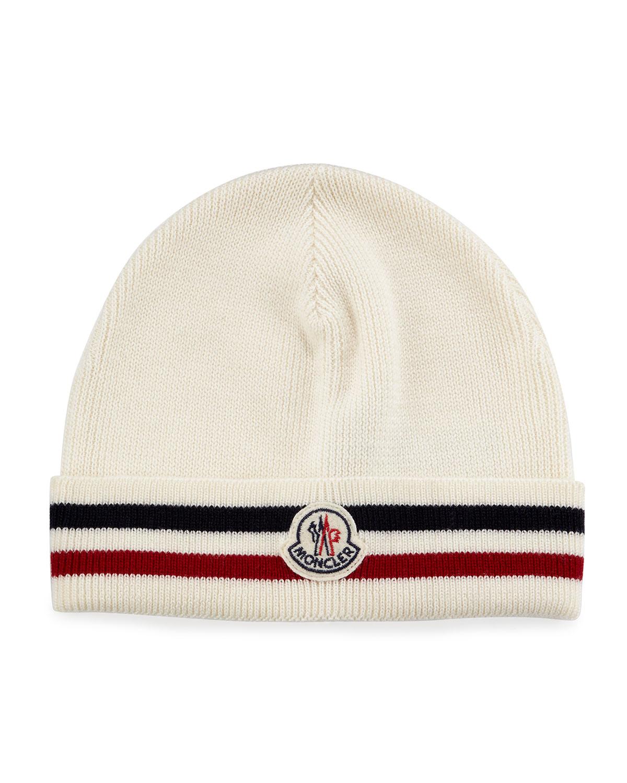 Moncler Striped Logo Cashmere Beanie Hat 2bbe48ff394