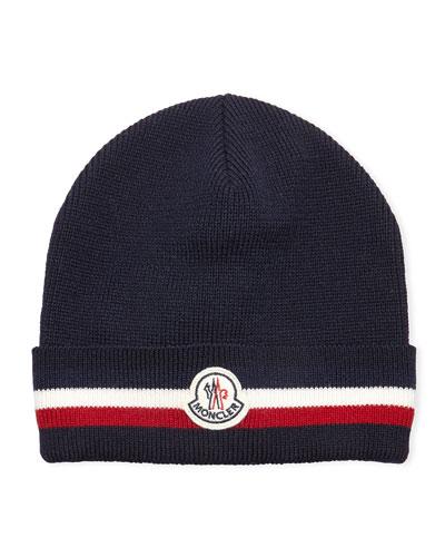 Striped Logo Wool Hat, Navy