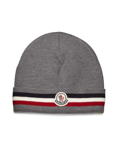 Striped Logo Cashmere Beanie Hat, Gray