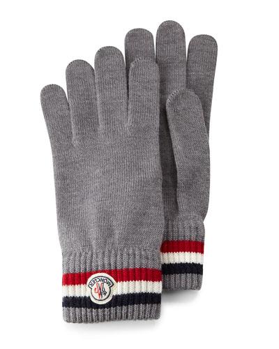 Striped Logo Cashmere Knit Gloves, Black