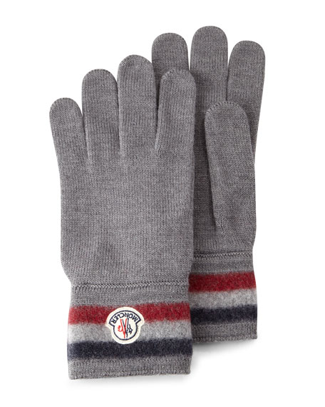 Moncler Striped Logo Cashmere Gloves, Gray