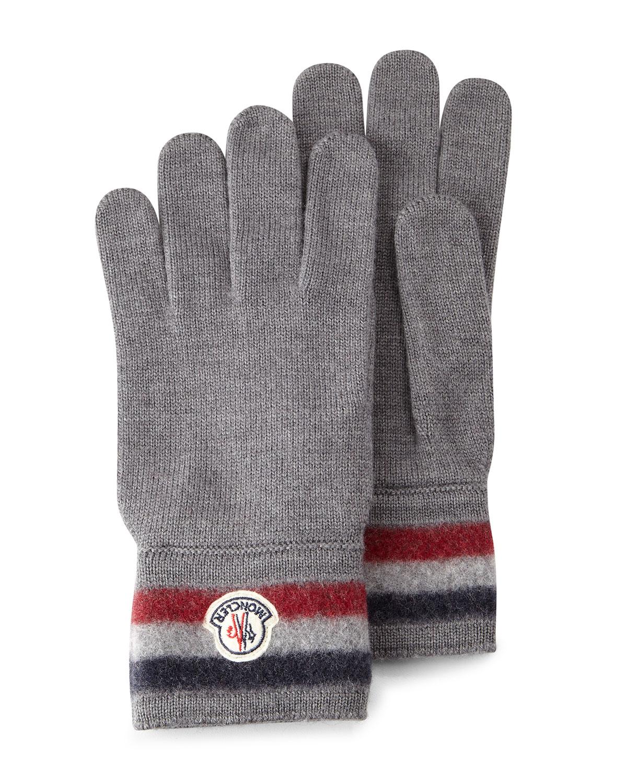 0d16867af7eb Moncler Striped Logo Cashmere Gloves