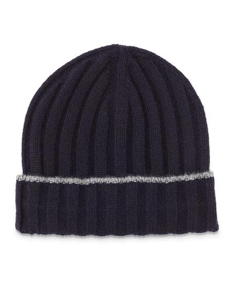 Brunello Cucinelli Cashmere Ribbed Hat w/Fold Over Brim, Navy/Gray
