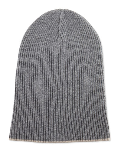 Cashmere Ribbed Hat w/Foldover Brim, Gray/Oatmeal