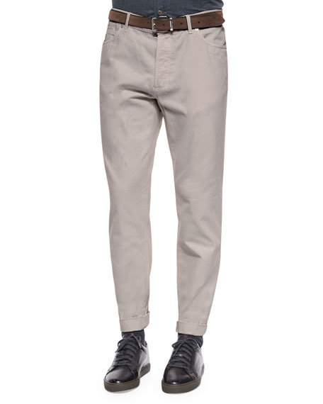 Brunello Cucinelli Five-Pocket Cotton Pants, Cream