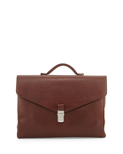 Leather Gusset Briefcase, Copper