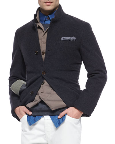 Cashmere Three-Button Knit Jacket, Blue