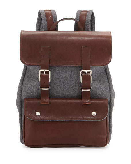 Leather & Flannel Flap Backpack, Charcoal
