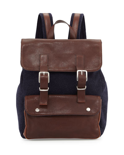 Buffalo Leather Backpack, Navy/Brown