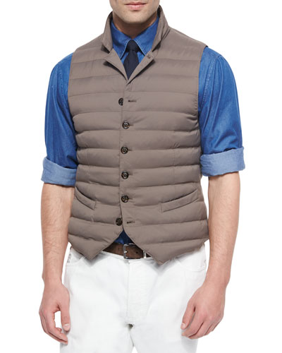 Down-Filled Button Vest, Brown