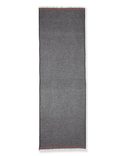 Striped Cashmere Scarf, Black/White/Red