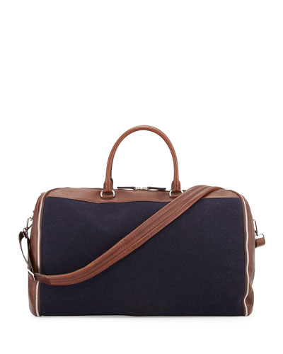 Buffalo Leather and Flannel Garment Duffel Bag, Navy